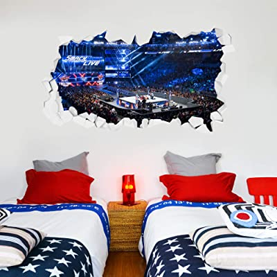 WWE Wall Sticker Smackdown Arena Smashed Wall Decal Vinyl Kids Mural Art Wrestling (120cm Width x 60cm Height): Baby