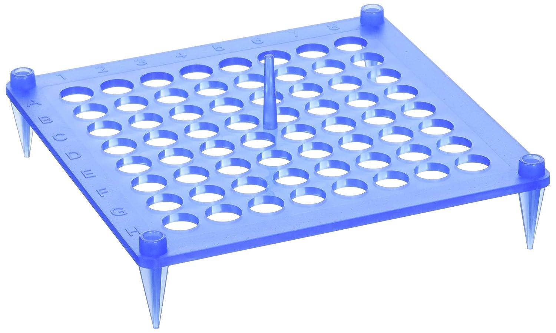 Pack of 10 Camlab Plastics RTP//72112-B 64 Place Polypropylene Stackable Rack Insert Blue