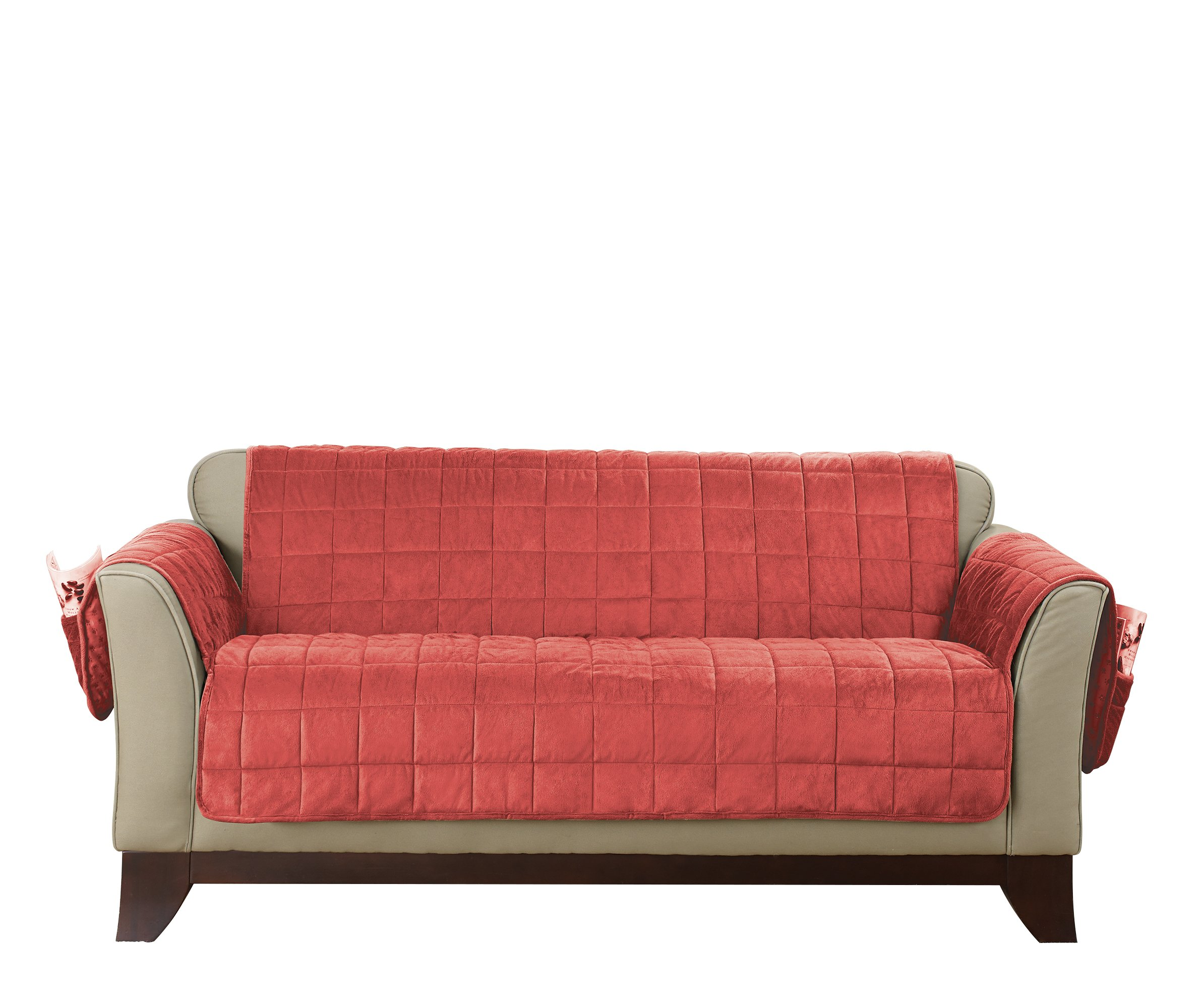Deep Pile Velvet Loveseat Furniture Cover - Coral