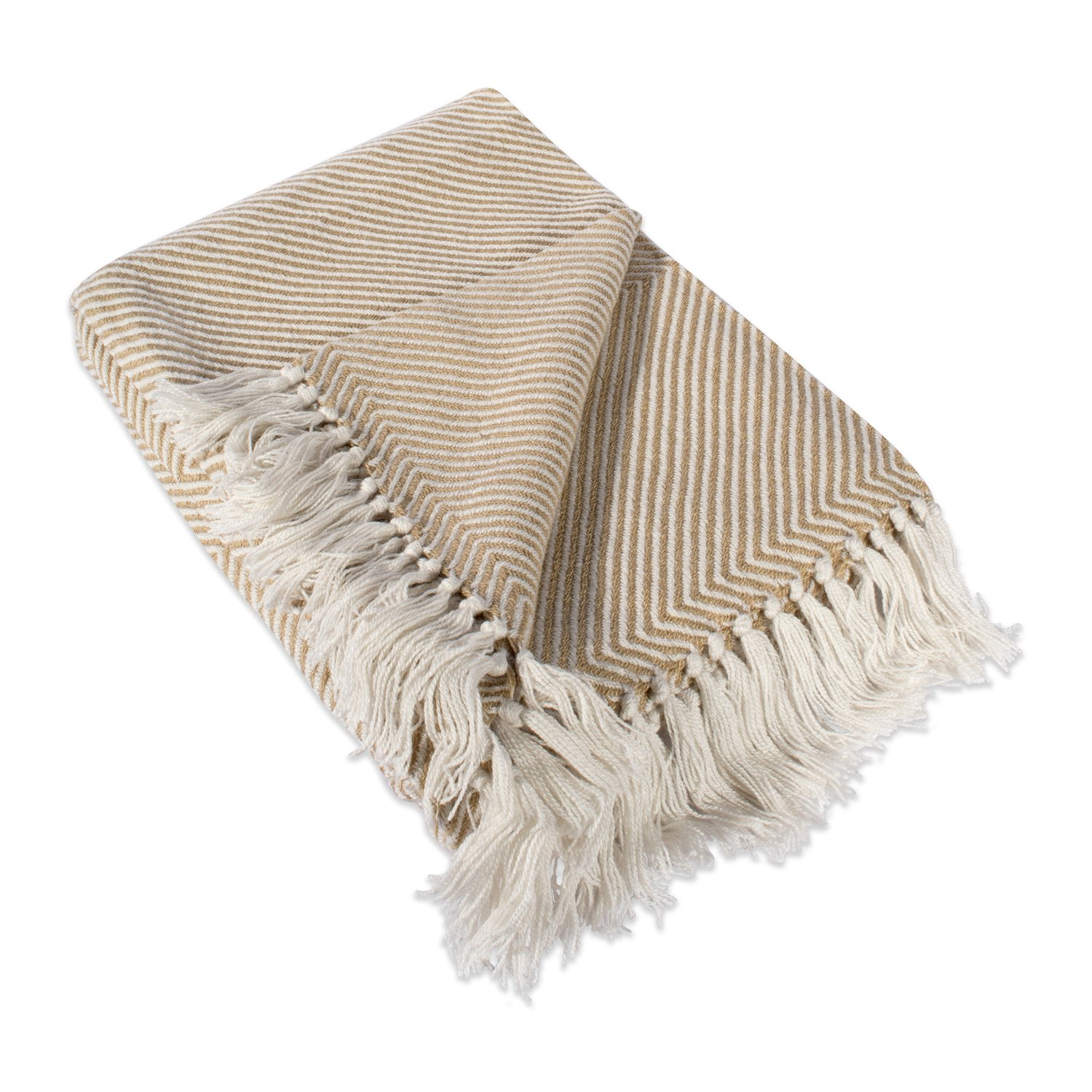 DII Home Essential Chevron Luxury Throw for Indoor/Outdoor Use, Camping, BBQ's, Beaches, Everyday Blanket, 48x67'', Taupe