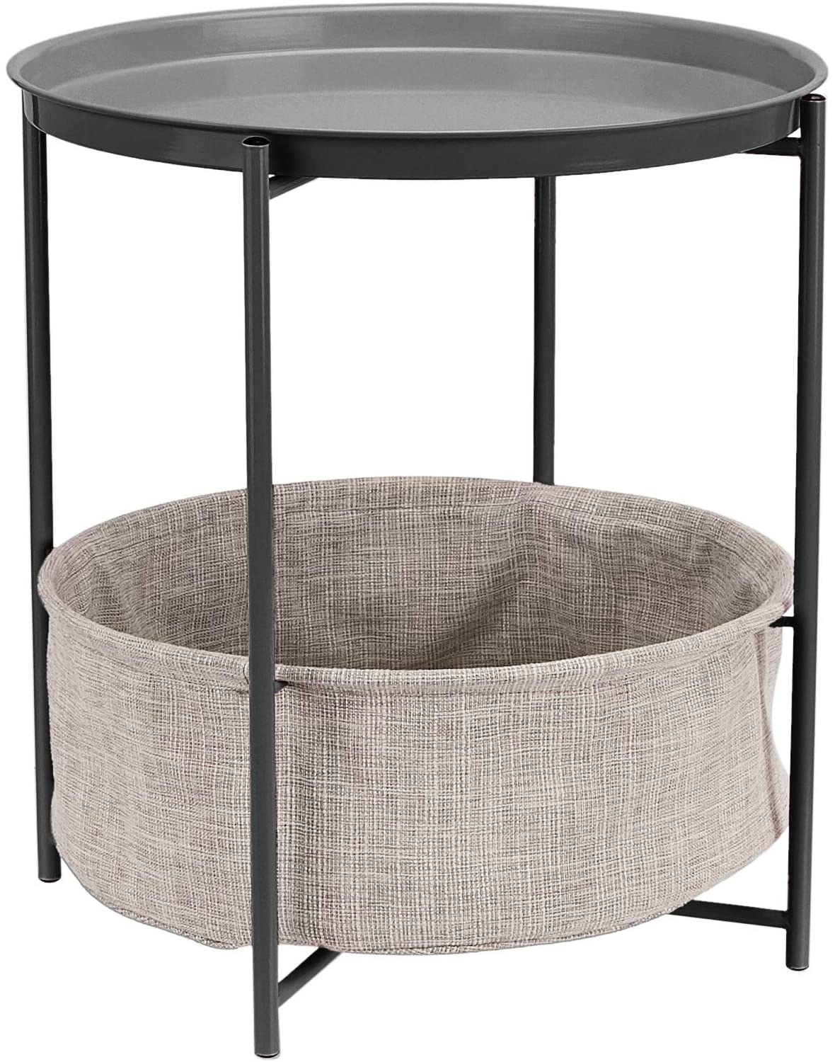 AmazonBasics Round Storage End Table - Charcoal with Heather Grey Fabric