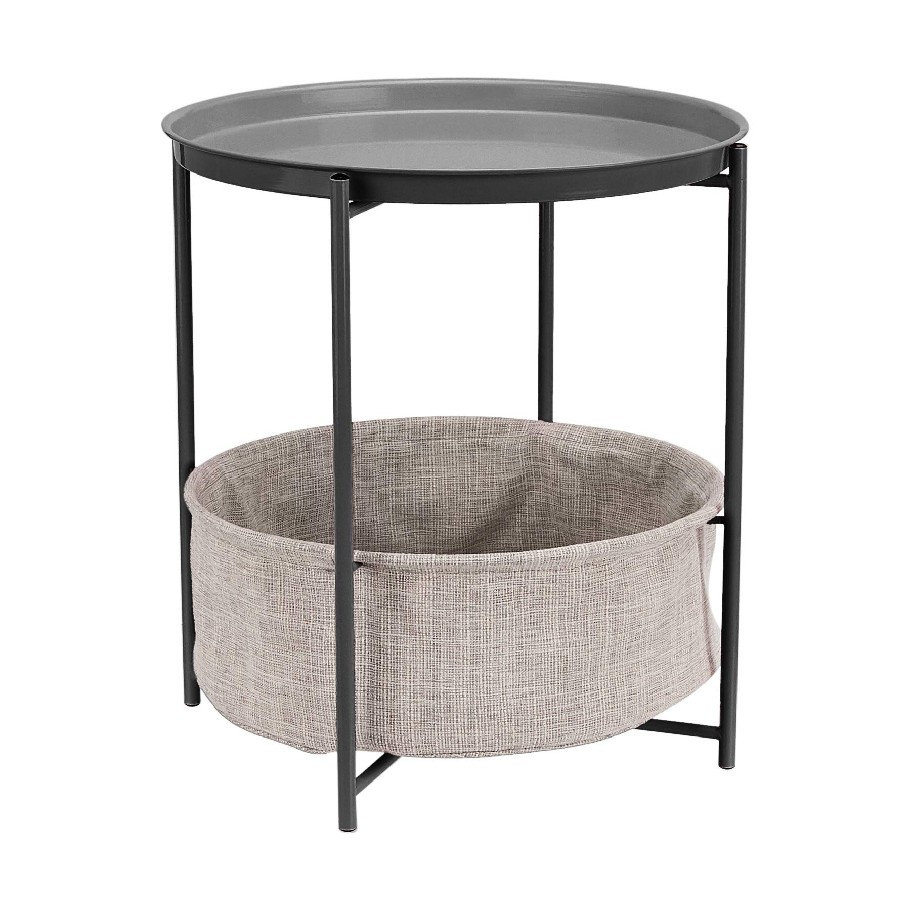 Round Storage End Table - Charcoal with Heather Grey Fabric