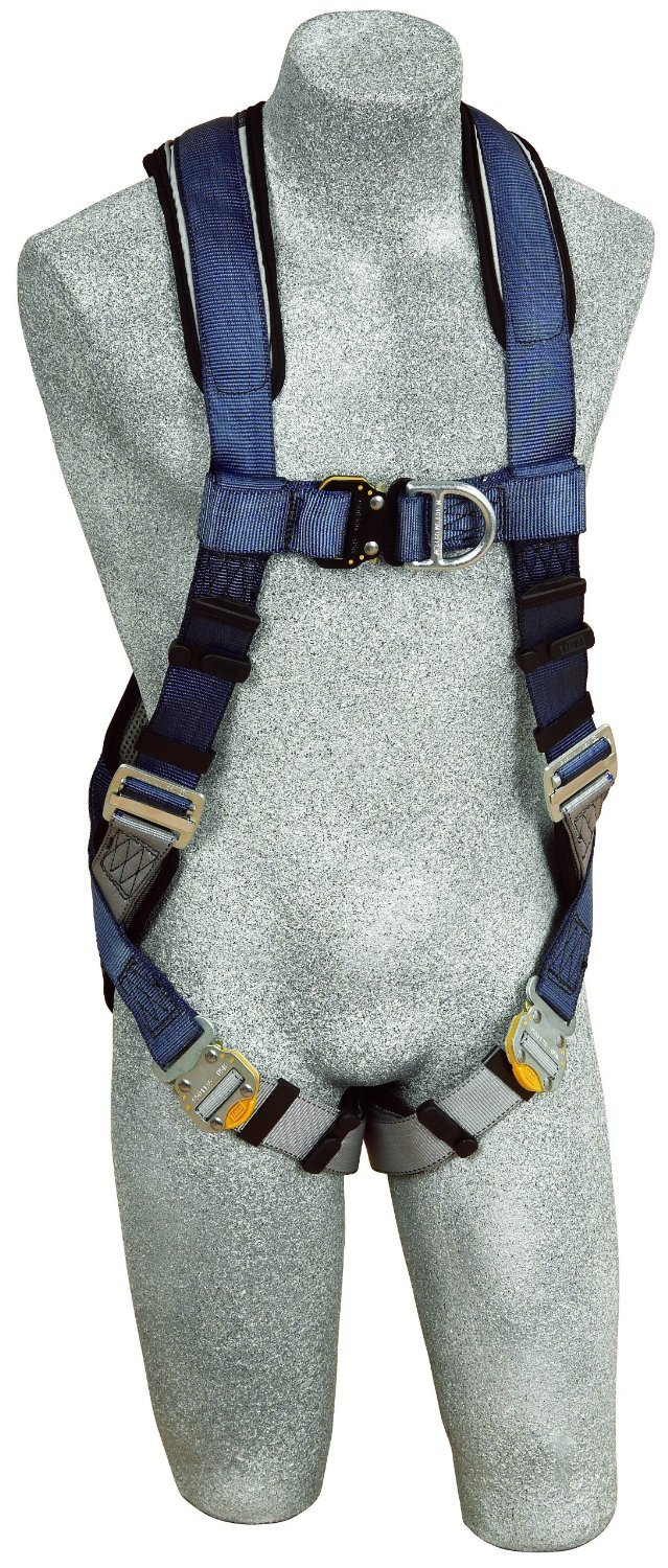 3M DBI-SALA ExoFit 1108526 Vest Style Harness, Front & Back D-Rings, Loops For Belt, Quick-Connect Buckles, Medium, Blue/Gray