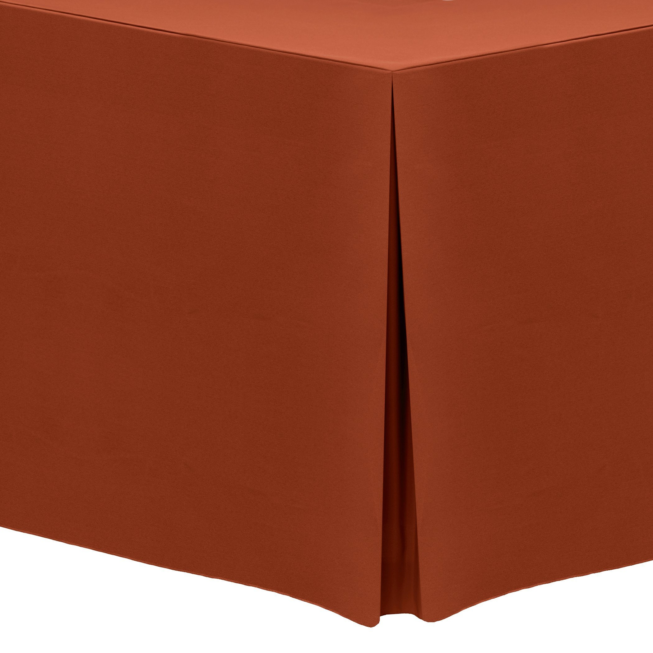 Ultimate Textile (2 Pack) 4 ft. Fitted Polyester Tablecloth - for 24 x 48-Inch Banquet and Folding Rectangular Tables - 42'' High, Burnt Orange