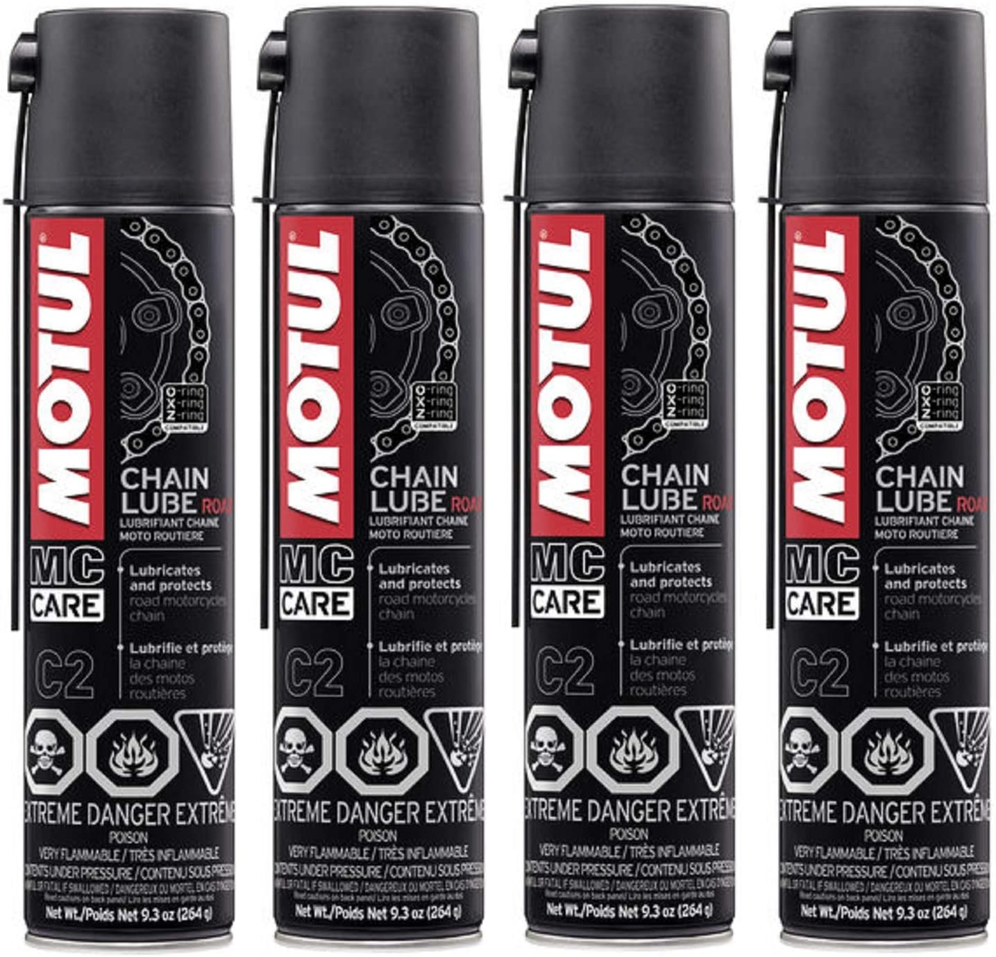 Motul 103244 Set of 4 C2 Chain Lube Road 9.3-Ounce Cans