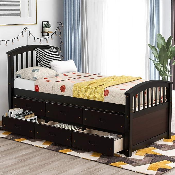 Best for Younger Kids: Bellemave Twin Storage Bed Wood Platform Bed