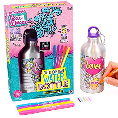 Just My Style Your Decor Color Your Own Water Bottle by Horizon Group USA, DIY Bottle Coloring Craft Kit, BPA Free, Personalize & Decorate Using Colorful Markers & Gemstones: Toys & Games