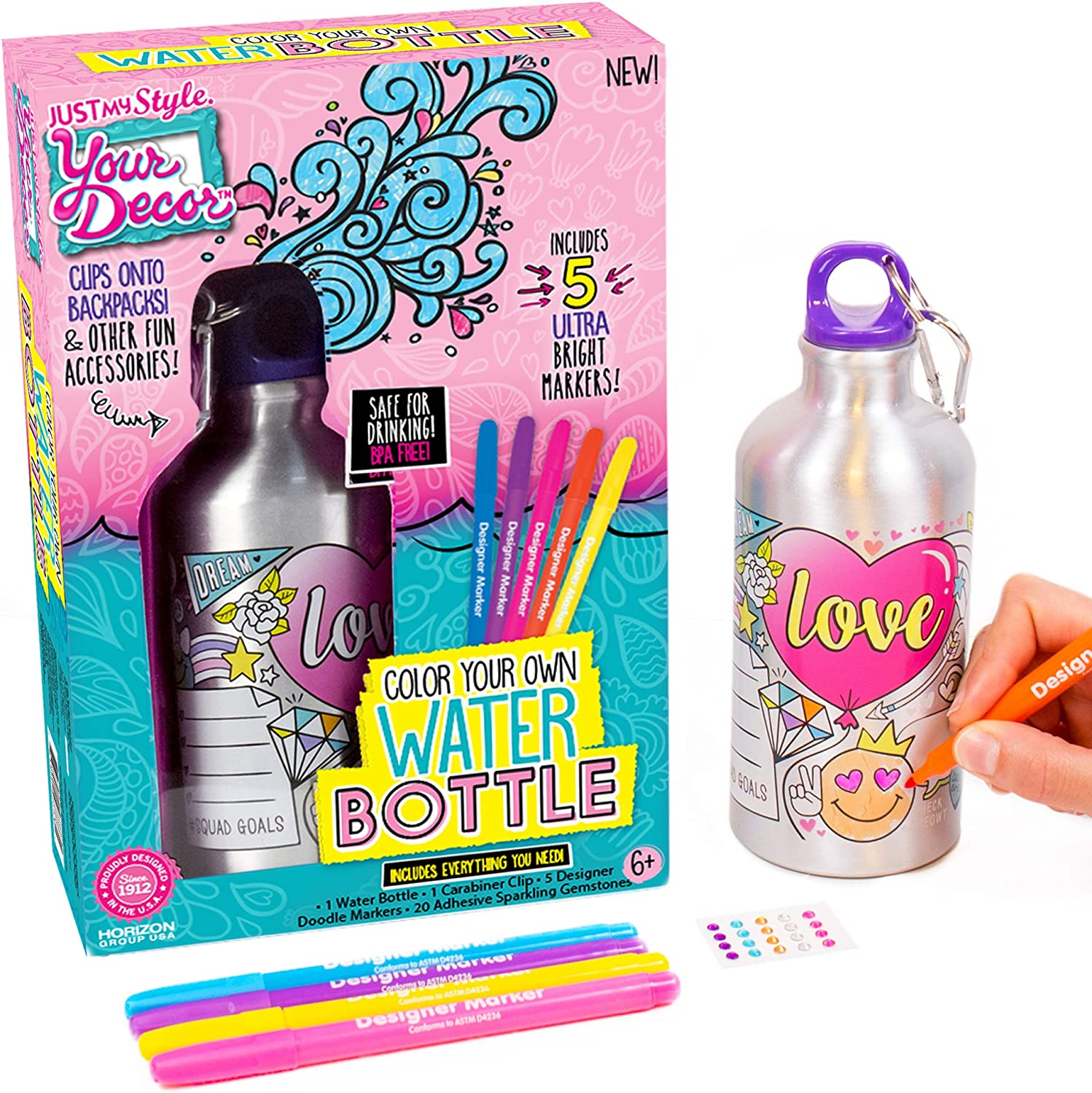 Just My Style Your Decor Color Your Own Water Bottle By Horizon Group Usa Diy Bottle Coloring Craft Kit Bpa Free Aluminum 18 9fl Oz Drinking Water Bottle Decorate Using Colorful Markers