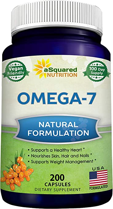 Amazon Com Purified Omega 7 Fatty Acids 200 Capsules From Natural Sea Buckthorn Xl Vitamin Supplement No Fish Burp Vegan Omega 7 Palmitoleic Acid Compare To Omega 3 6 9 For Complete