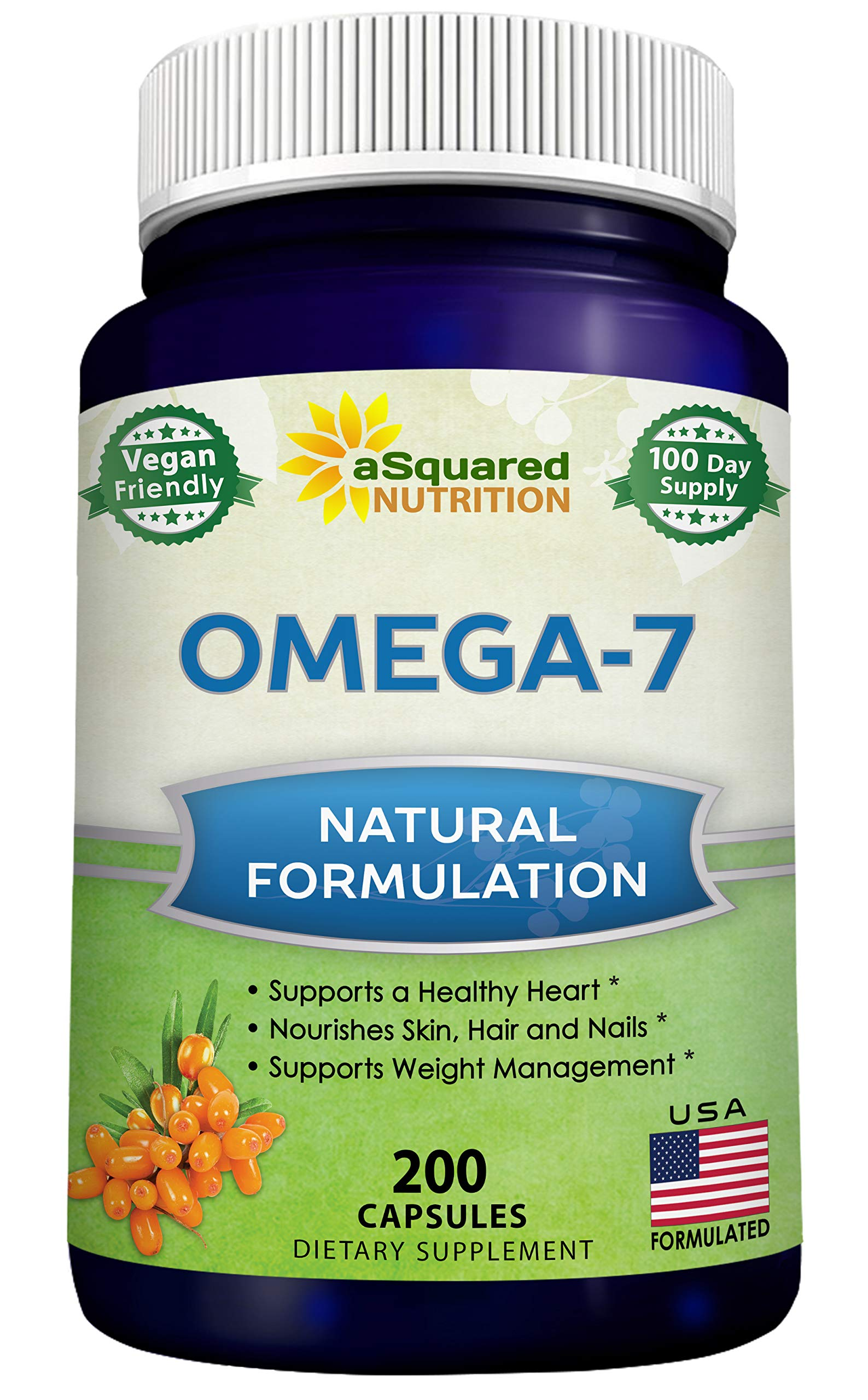 Purified Omega 7 Fatty Acids - 200 Capsules - from Natural Sea Buckthorn, XL Vitamin Supplement, No Fish Burp, Vegan Omega-7 Palmitoleic Acid, Compare to Omega 3 6 9 for Complete Weight Loss Results by aSquared Nutrition
