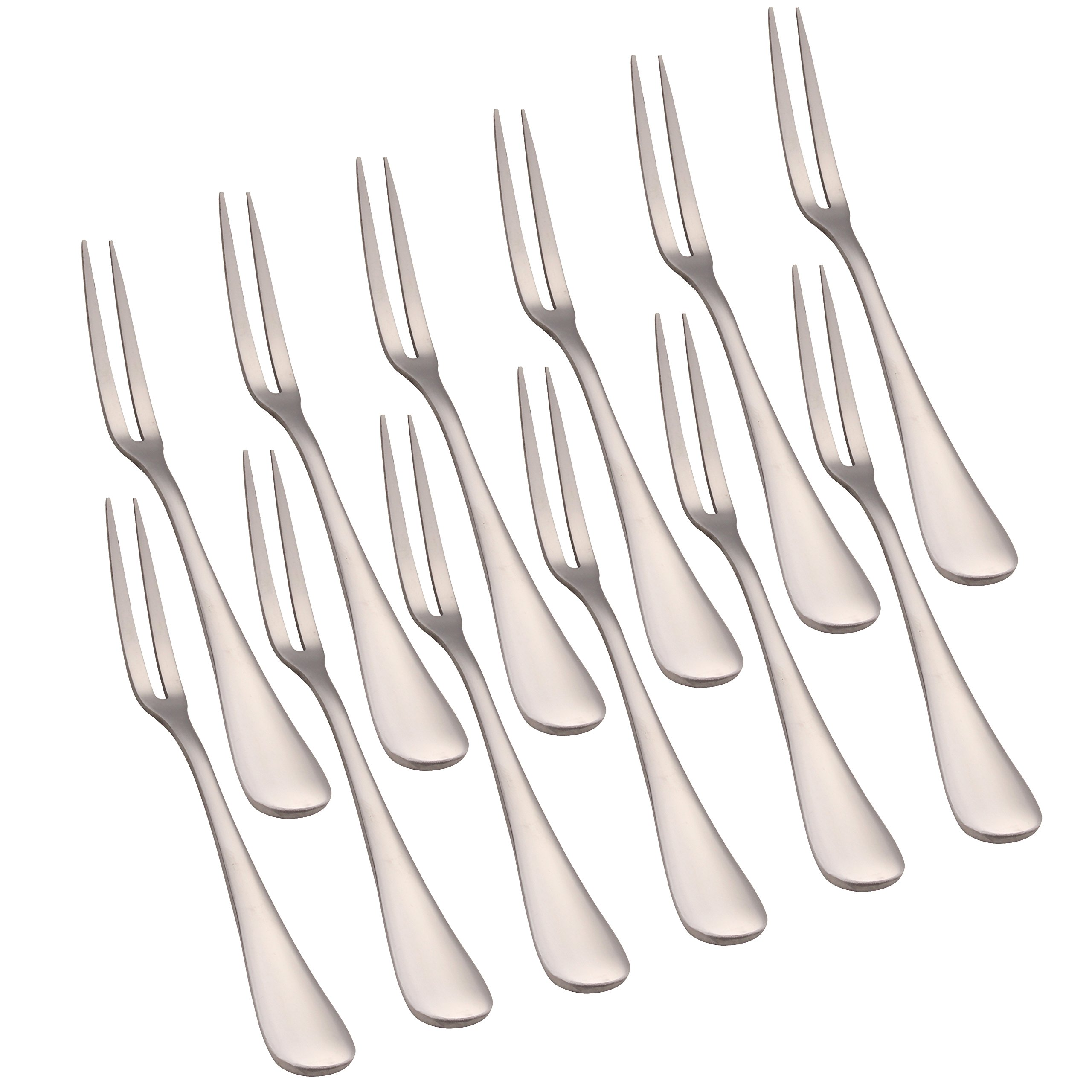 Zicome Set of 12 Fruit Forks, Stainless Steel Forks for Bistro Cocktail Tasting Appetizer and Mini Cake