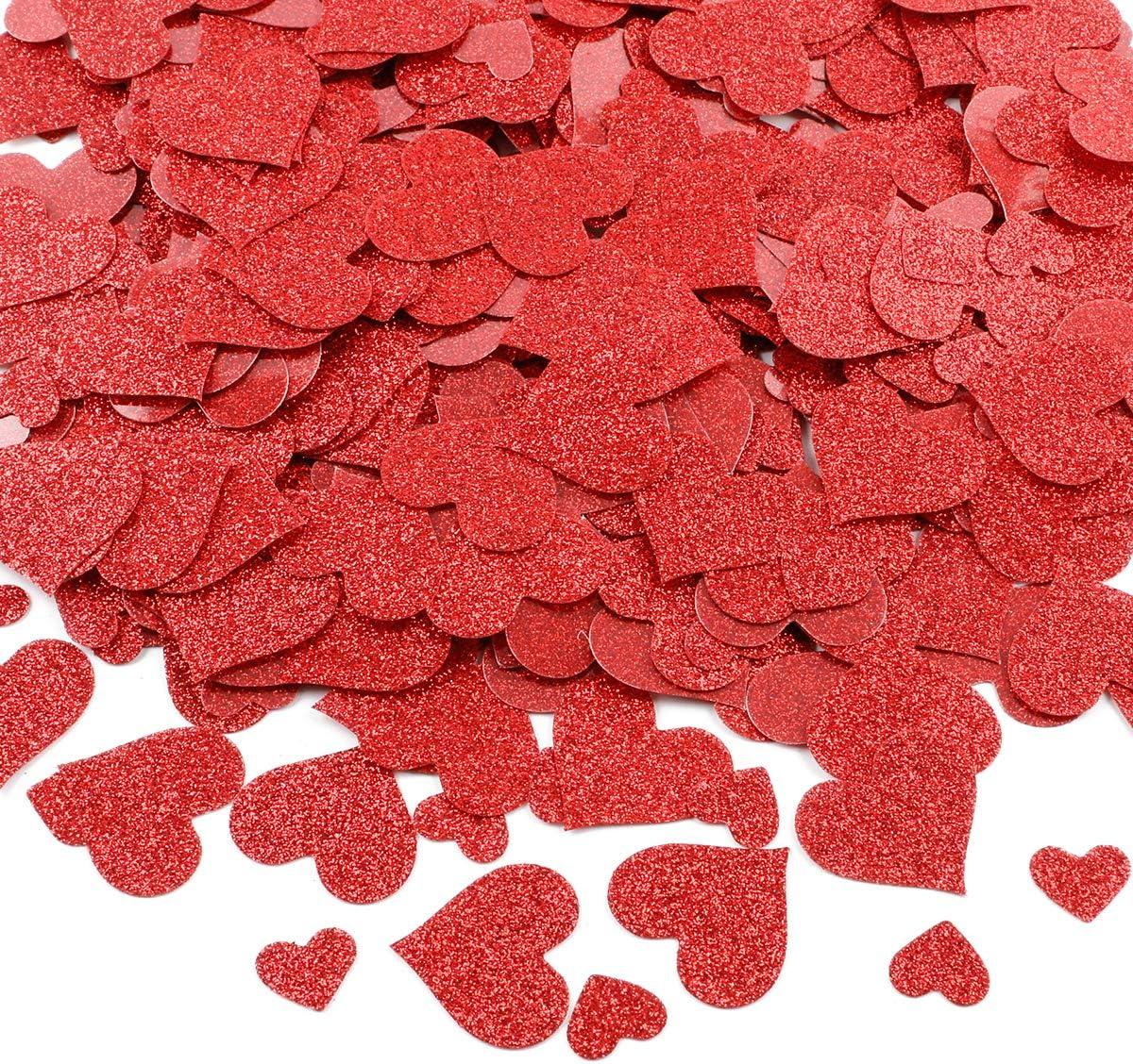 600Pcs Hearts Confetti Valentines Confetti Red Glitter- Valentines Day Decorations, Hearts Confetti Decorations, Valentines Decorations, Valentines Day Decor, Confetti Hearts