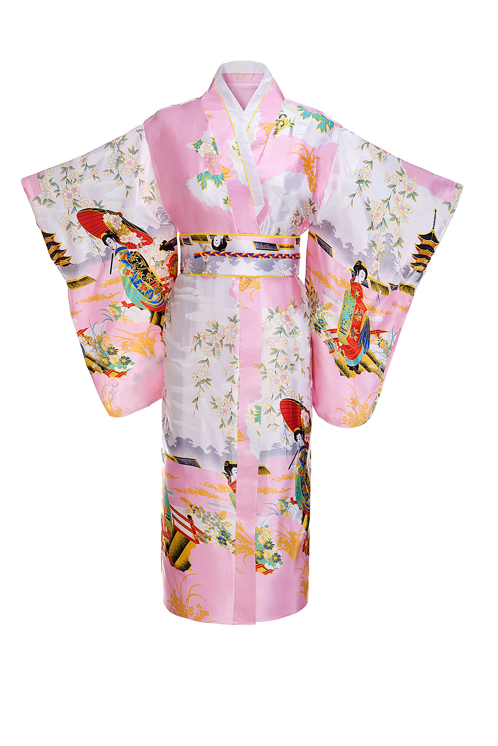 Old-to-new Women's Silk Traditional Japanese Kimono Robe with Pagoda Print Pink
