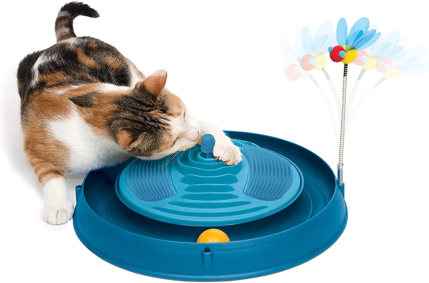 Catit Play Circuit Ball Cat Toy with Scratch Pad, Catnip Toy, Blue, 43001