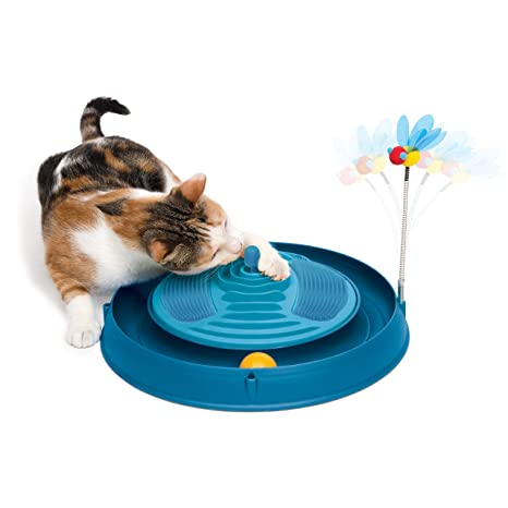 Catit Play - Masajeador de Circuito, Juguete para Gato, Color Azul