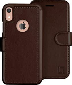 LUPA iPhone XR Wallet case, Durable and Slim, Lightweight with Classic Design & Ultra-Strong Magnetic Closure, Faux Leather, Chocolate Brown, for Apple XR