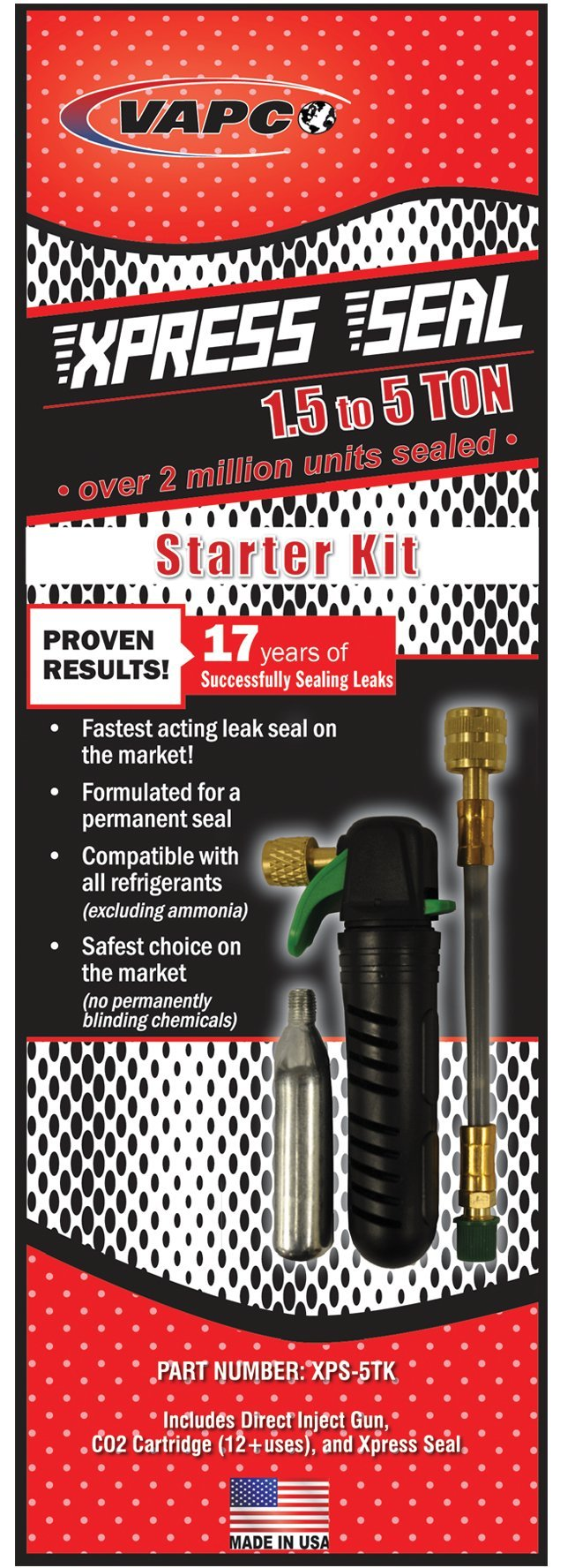 Vapco Xpress Seal Starter Kit - Professional A/C & Refrigeration sealant for systems 1.5 to 5 tons. MADE IN USA & over 2 million systems sealed. by Vapco