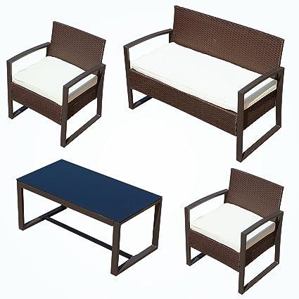 Mecor Outdoor Patio Furniture Set, 4 Piece Rattan Wicker Sofa Set With  Cushionsu0026Glass Coffee Table