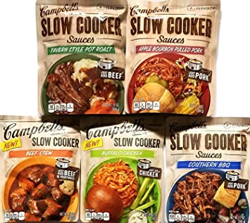 Variety Pack of 5 Campbells Slow Cooker Sauces - Tavern Style Pot Roast, Beef Stew