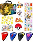 Premium Pokemon Lunch Box and Accessories - Features Pikachu and Mew - Comes With Stickers, Temporary Tattoos, Deck Box, Poke Ball and Surprise Minifigure - Perfect Birthday Gift or Party Favors