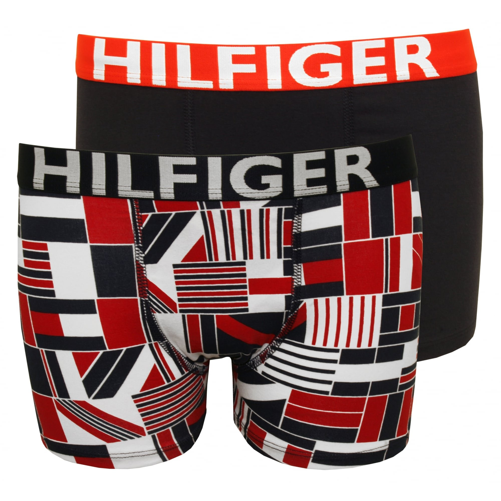 Tommy Hilfiger Boy's 2-Pack Block Flag Print Bold Logo Boys Boxer Trunks, Red/Navy Age 10-12 Red/Navy