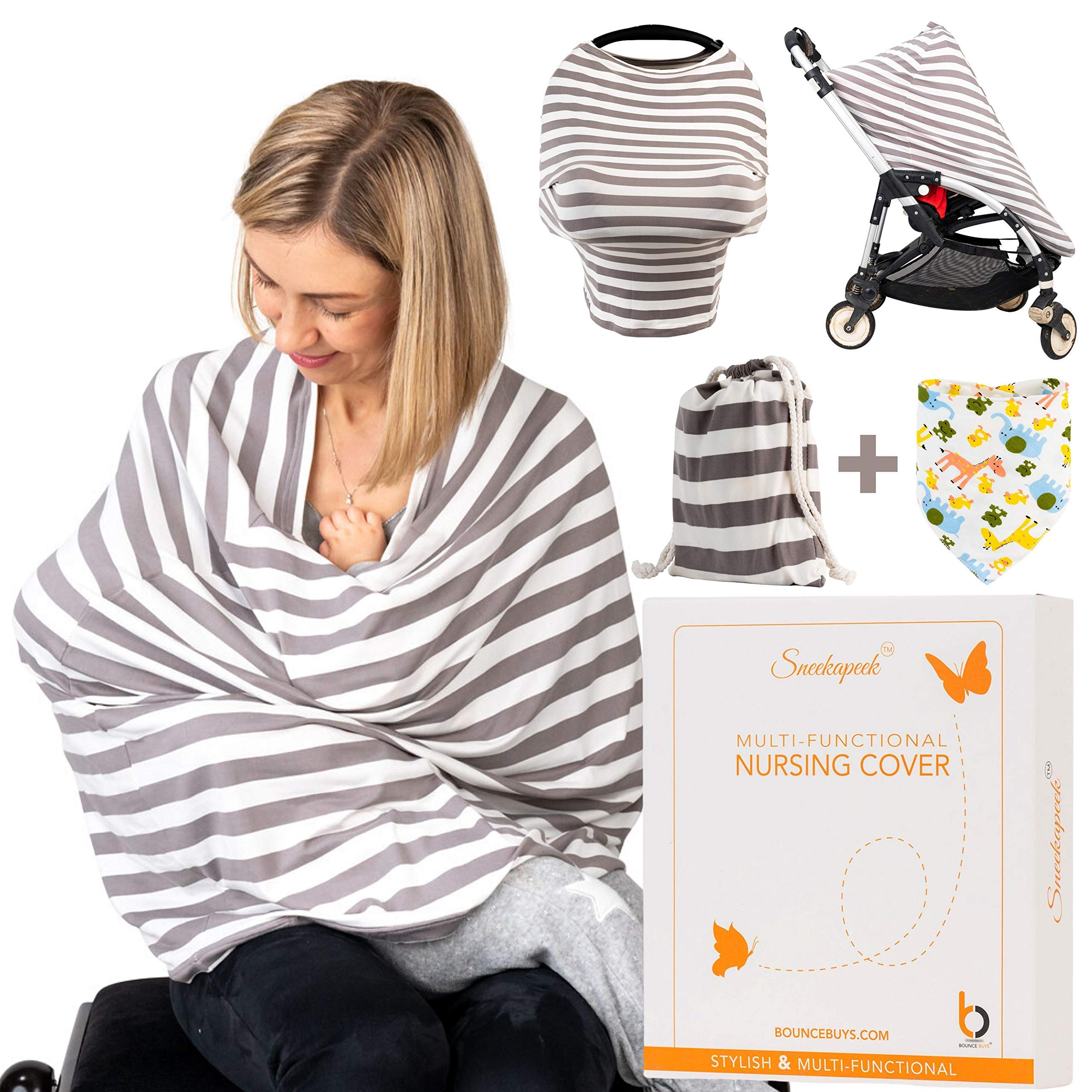 Breathable Soft Cotton Stroller Cover with Lace Screen Yarn Nursing Cover for Breastfeeding