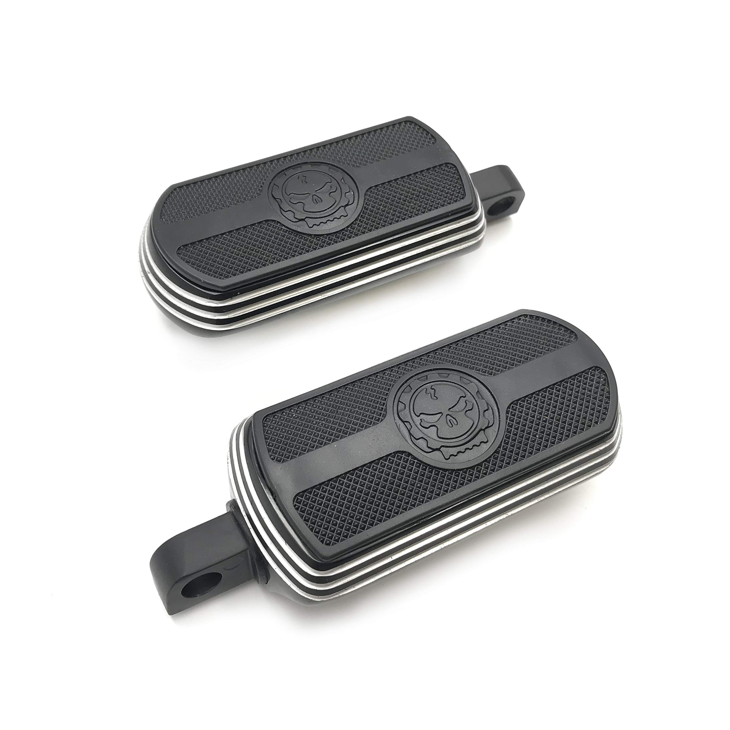 XKMT-MT216-115S-Gear Skull passenger footboard floorboard cover Compatible With Harley Touring Softail Dyna B07RC26VP5