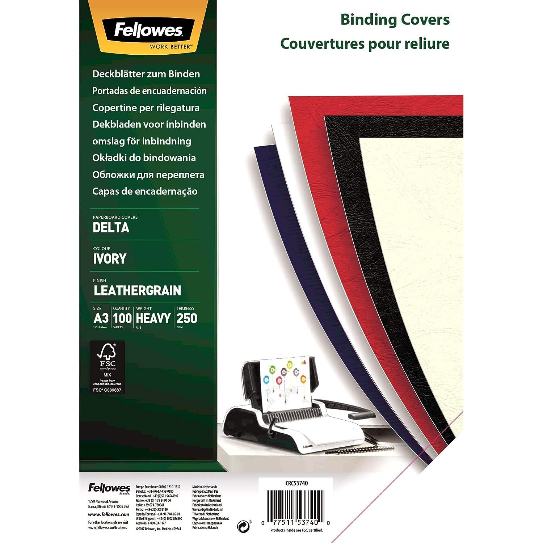 Formato A4 Confezione da 25 Pezzi Fellowes 5373802 Copertine per Rilegatura Delta FSC Nero