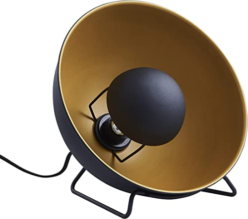 Archiology Spoon Uplight Bedside Metal Table Lamp – Retro, Nautical, Rustic, Modern, Mid Century, Contemporary, Vintage Nightstand Lamp with Black Gold Shade with Bulb, 12