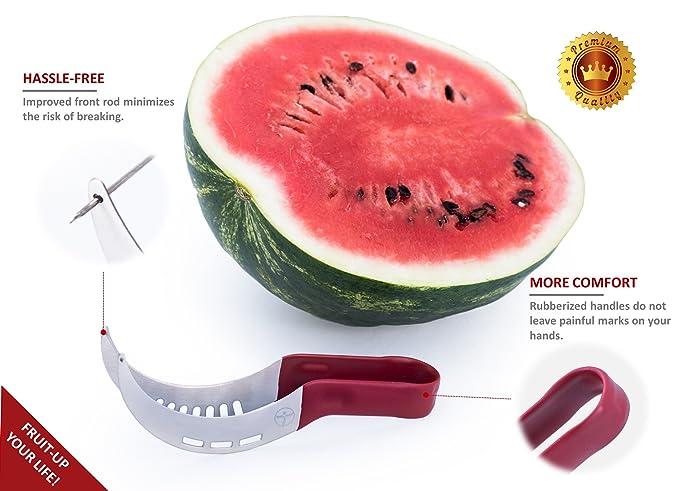 tudimo Apple descorazonador y cortador de sandía 2-in-1 Set con mejora características y bono libro de recetas (cuchillas de acero inoxidable, ...