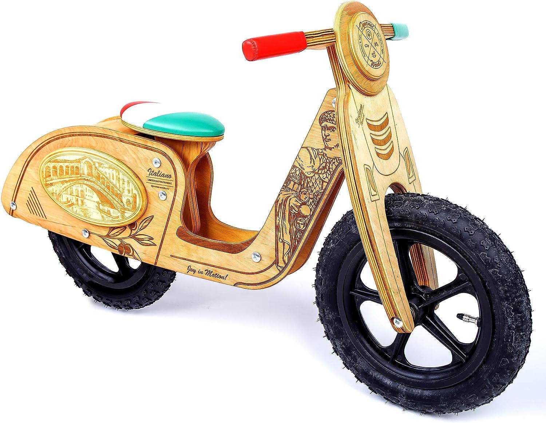 Dynamic Woods Bicicleta sin Pedales para niños y niñas   Bici Madera de 2-3 años Diseñado César