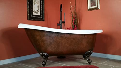 Acrylic 61 Inch Faux Copper Clawfoot Bathtub Without Faucet Holes- Copper Maries