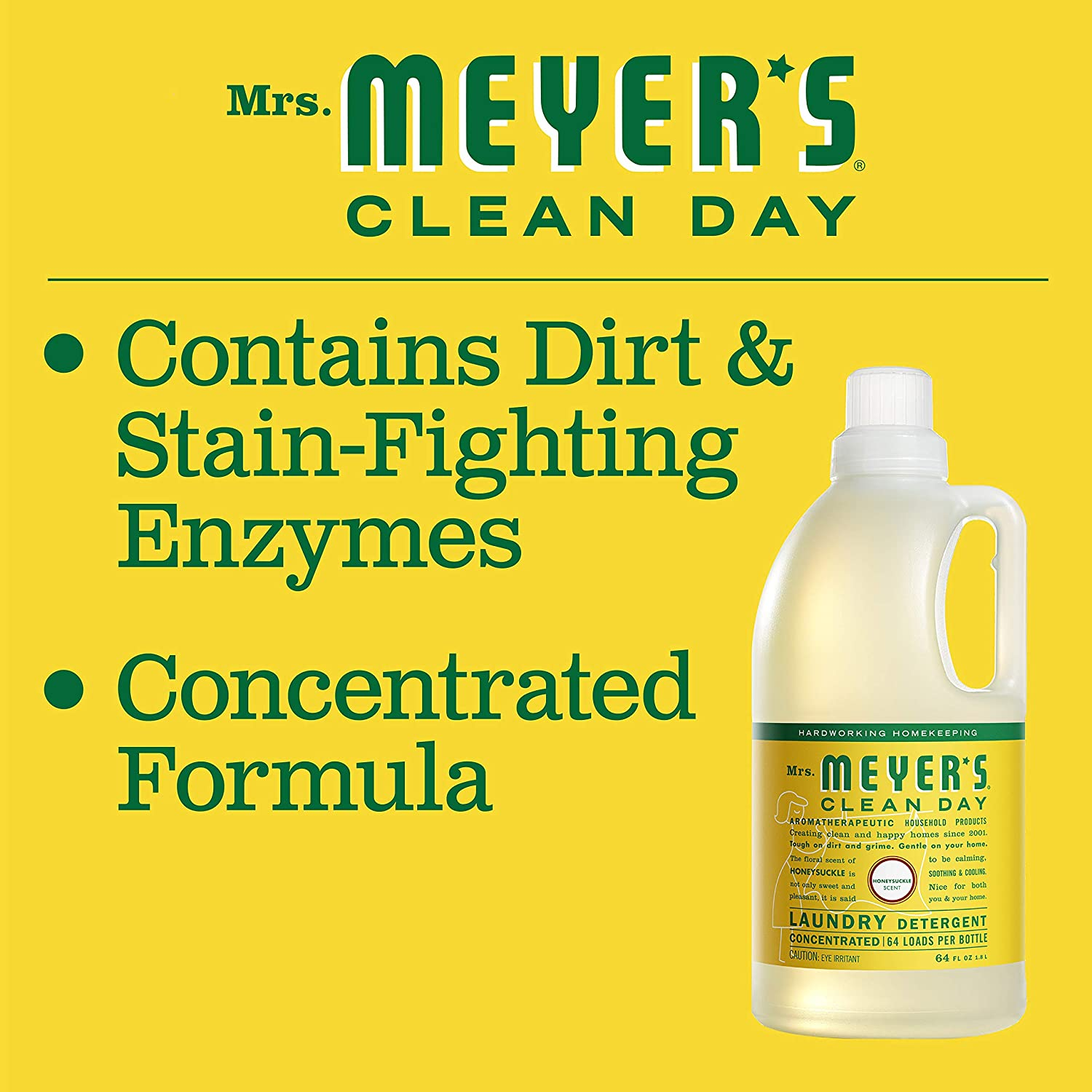 MRS MEYERS 64 Load Laundry Detergent, Honeysuckle, 64.0 Fluid ...
