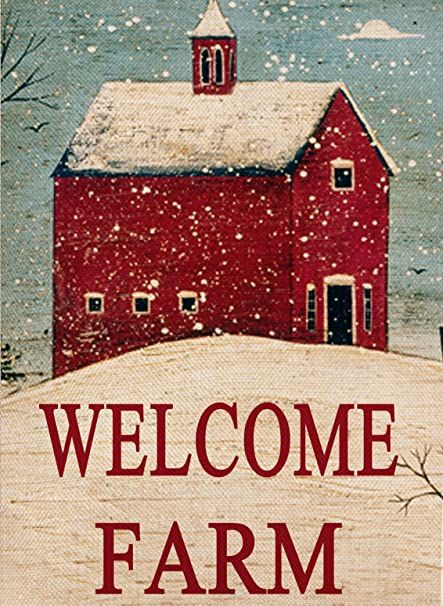 dyrenson home decorative outdoor christmas double sided farmhouse garden flag welcome farm quote snow house - Farmhouse Outdoor Christmas Decorations