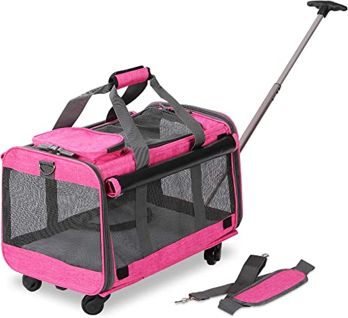 KOPEKS Pet Carrier with Detachable Wheels for Small and Medium Dogs Cats – Heather Pink