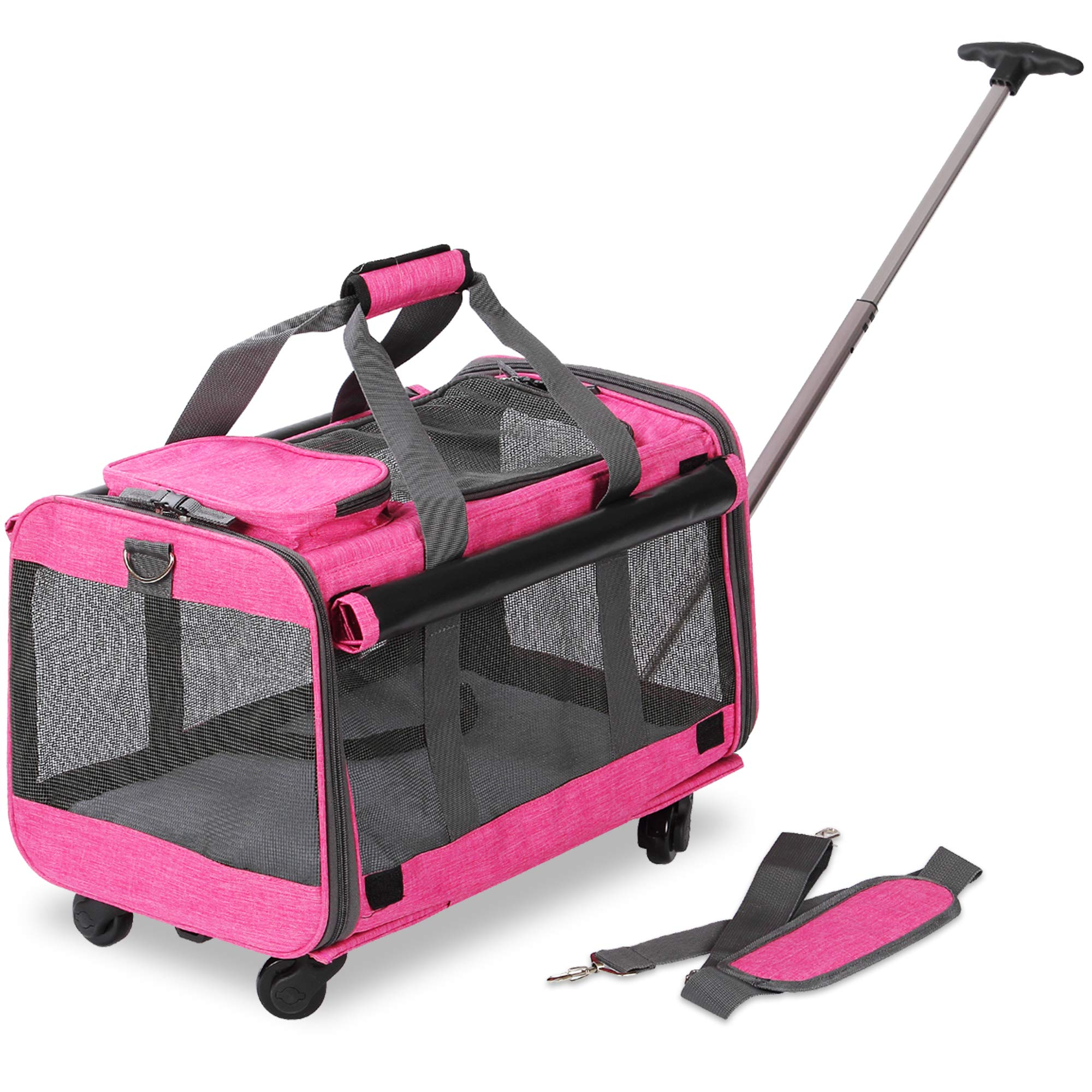 KOPEKS Pet Carrier with Detachable Wheels for Small and Medium Dogs & Cats - Heather Pink