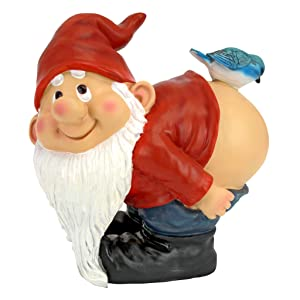 Design Toscano Loonie Moonie Bare Buttocks Garden Gnome Statue, Medium 8 Inch, Polyresin, Full Color