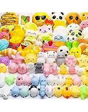 WATINC Random 70 Pcs Squishy, Birthday Gifts for Kids Party Favors, 30 Pcs Kawaii Simulation Bread Squishy 40 Pcs Mochi Squishy Cat Panda Goodie Bags Egg Fillers, Keychain Phone Straps