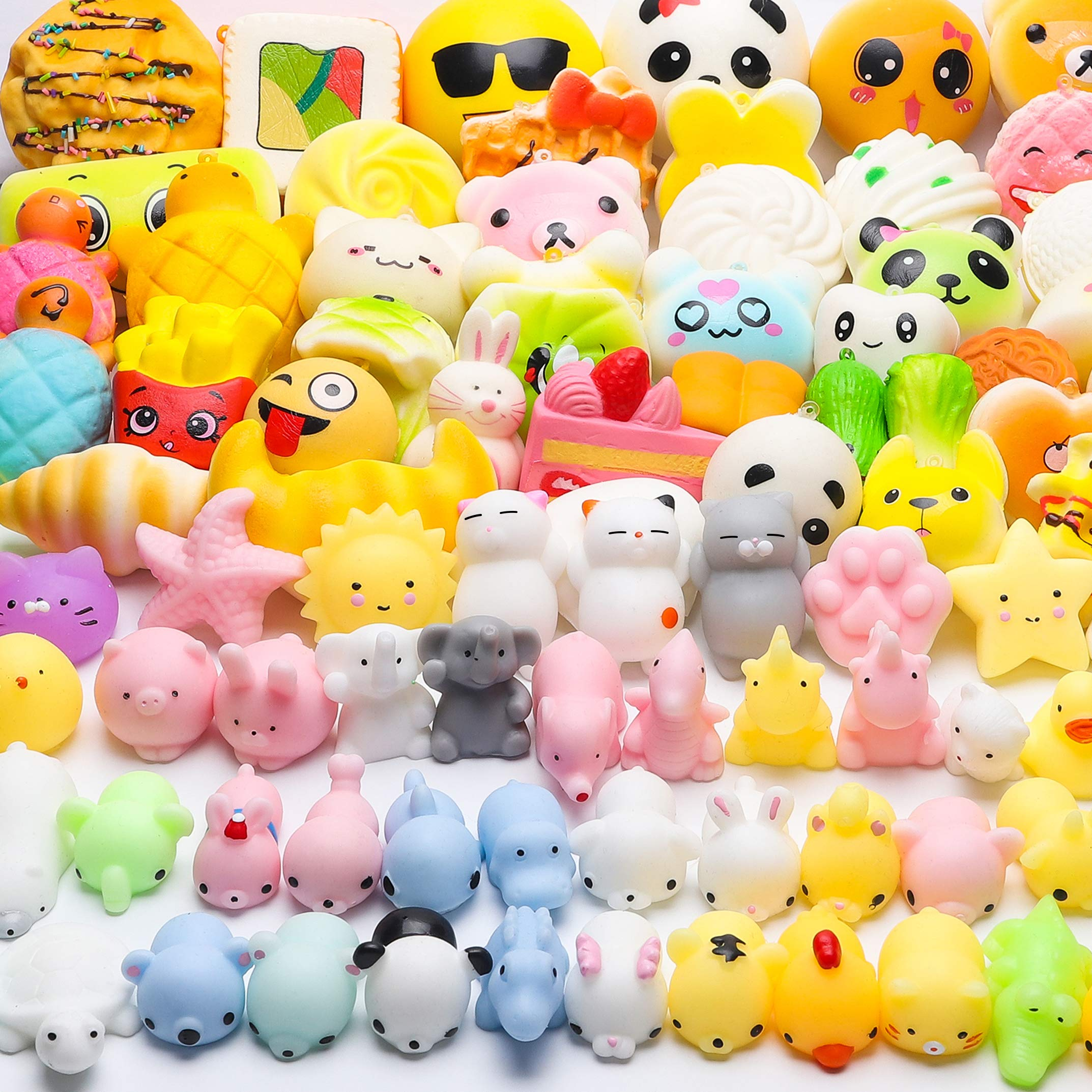 WATINC Random 70 Pcs Squishies, Birthday Gifts for Kids Party Favors, 30 Pcs Kawaii Simulation Bread Squishies 40 Pcs Mochi Squishies Cat Panda Goodie Bags Egg Fillers, Keychain Phone Straps by WATINC (Image #7)