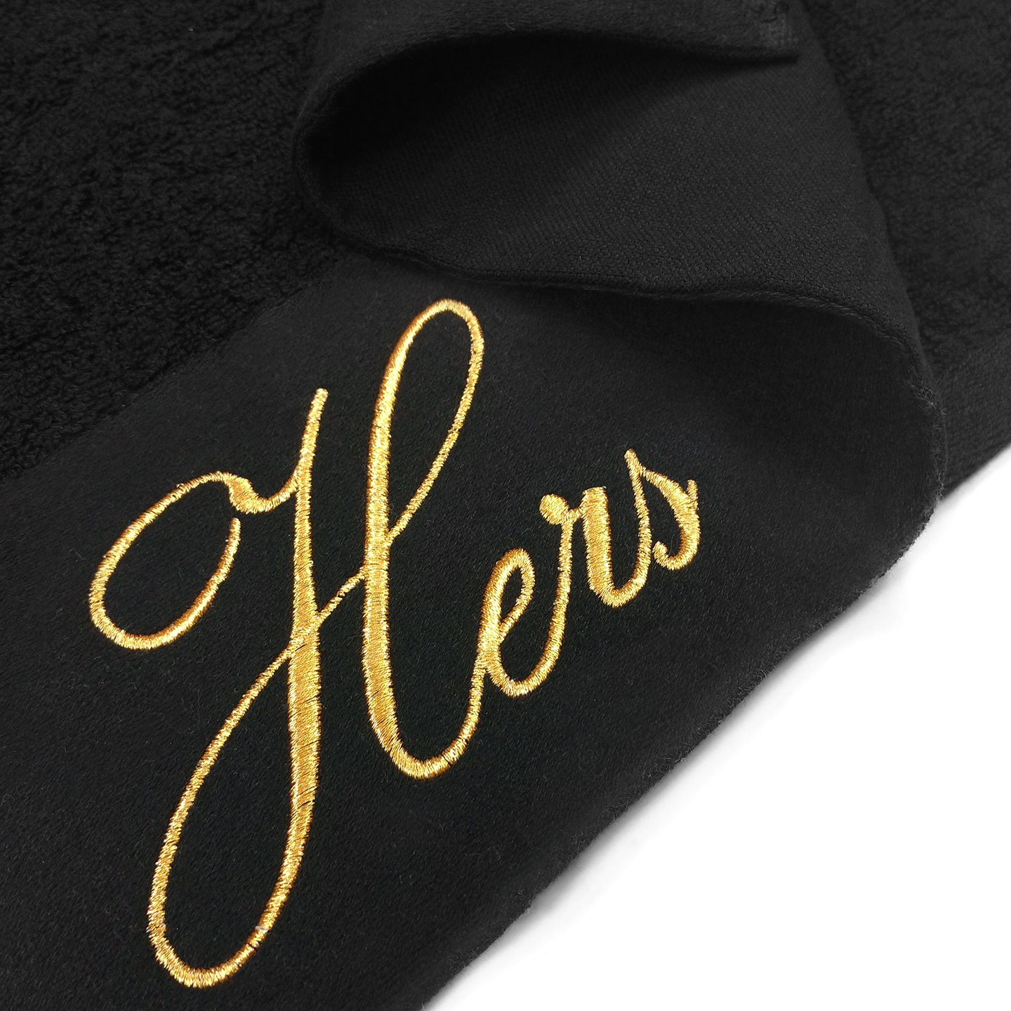 Kaufman - Terry Cloth Bathrobes 100% Cotton - His and Hers Embroidered Velour Shawl Set of Robes with His and Hers Black Towel Set 30''x58'' 4-PK by Ben Kaufman Sales (Image #7)