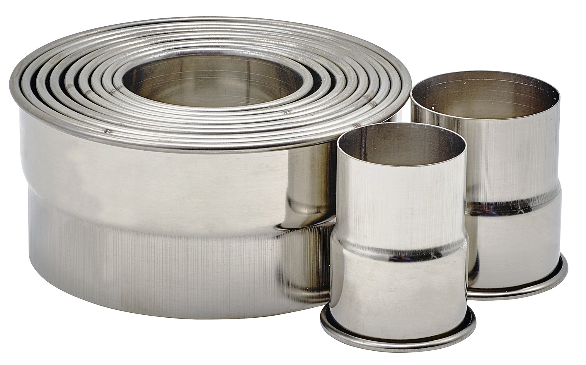 Winco CST-22 11 Piece Heavy Stainless Steel Plain Round 1-3/8'' to 4'' Diameter x 2''H Cookie Cutter Set