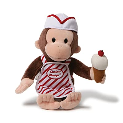 "GUND Curious George with Ice Cream Stuffed Animal Toy, 13"": Toys & Games"