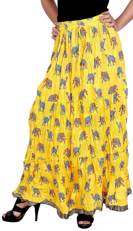 25487669e Vani Women's Cotton Ethnic Skirt (FrillElephantYellow1, Yellow): Amazon.in:  Clothing & Accessories