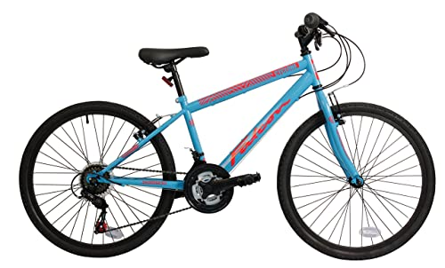 "FalconCyclone Kids' Mountain Bike Blue/Red, 14"" inch steel frame, 18 speed black wheel rims front and rear powerful v-brakes"