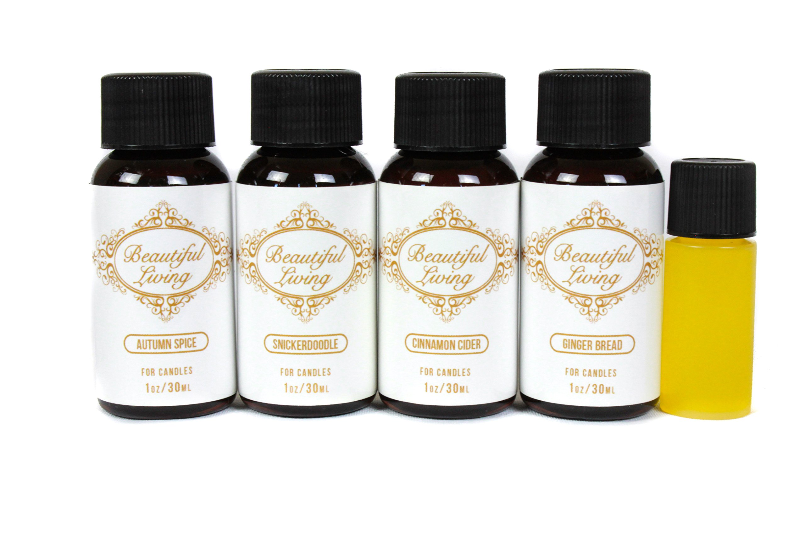 Fragrance Oil Sampler Set With Bonus Oil- Cinnamon Cider, Autumn Spice, Snickerdoodle, Gingerbread and Bonus Oil Pumpkin Harvest- Scents For Candle Making- Works in Diffusers, Warmers