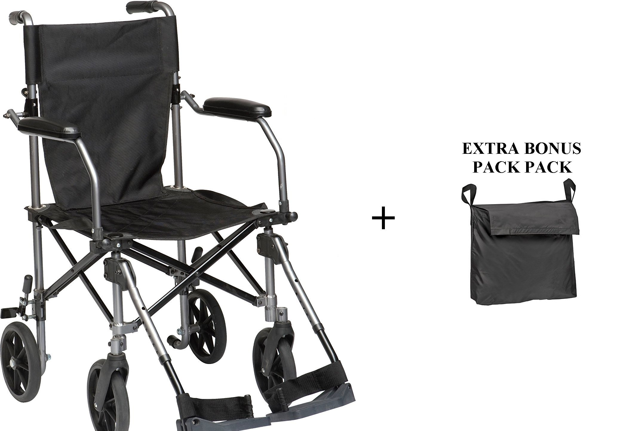WHEELCHAIR TRANSPORT FOLDING 19''W/SWINGAWAY LEGRESTS with CARRYING BAG and EXTRA REAR WHEELCHAIR BACK PACK