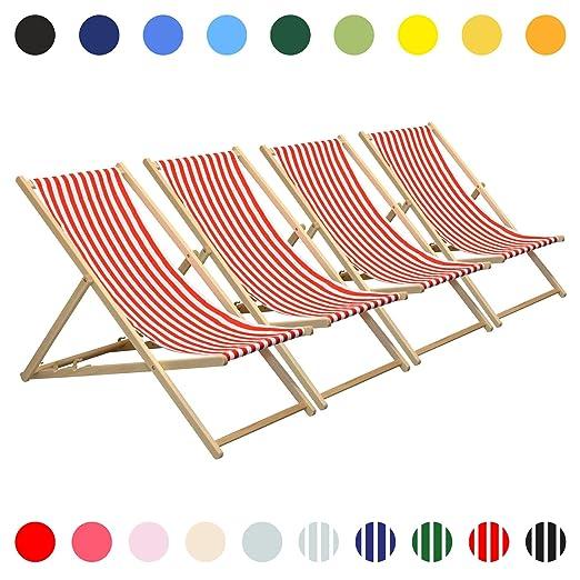 Harbour Housewares Tumbona reclinable y Plegable - Ideal para Playa y jardín - Estilo Tradicional - Rayas Rojas/Blancas - Pack de 4