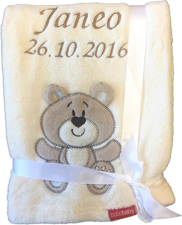 Manta blandísima para bebé, con bordado del nombre y de la fecha de nacimiento
