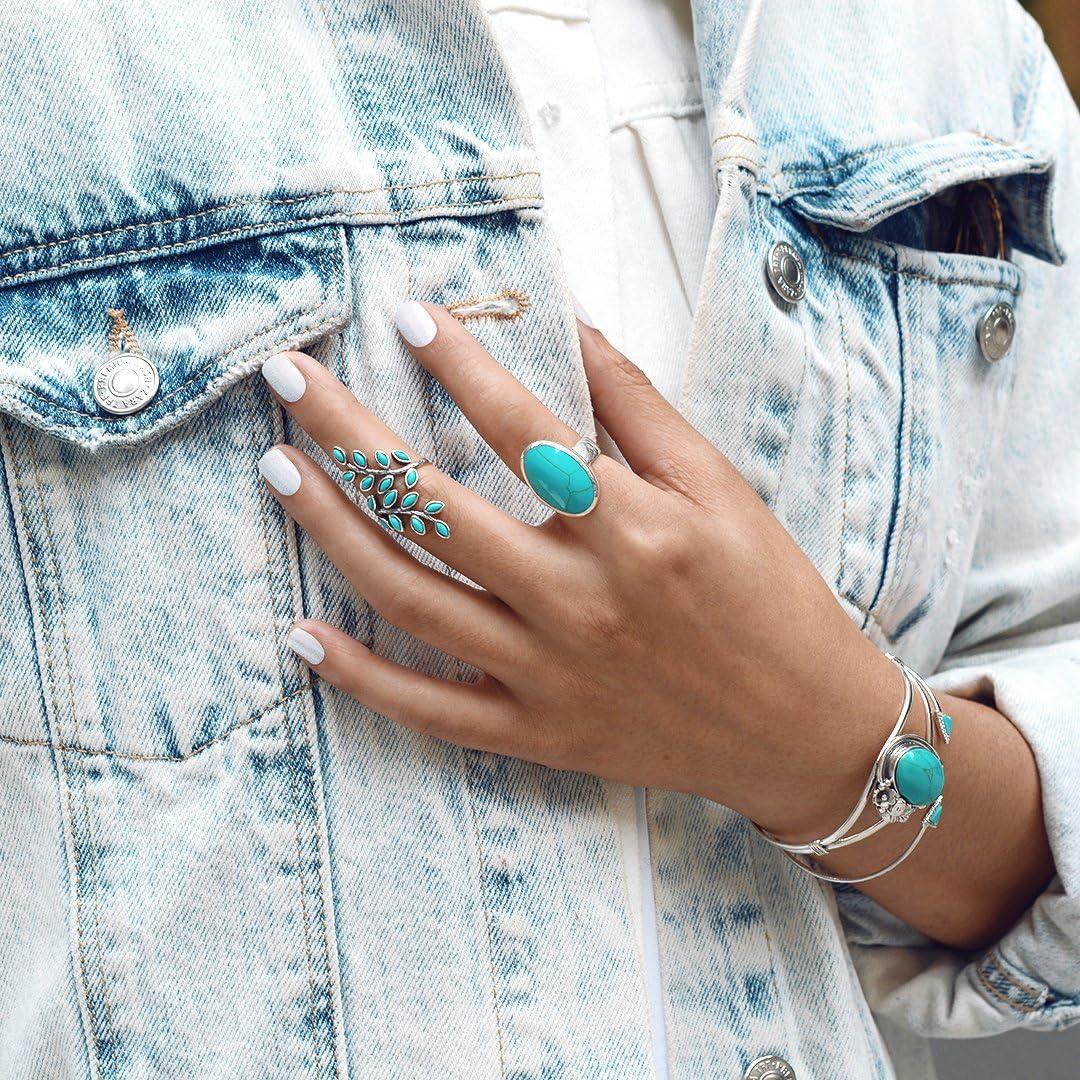 Bling Jewelry Grand Cadre Ovale Turquoise Stabilis/ée Au Sud-Ouest Style Am/érindien Boho D/éclaration De Mode Bague 925 Sterling Argent