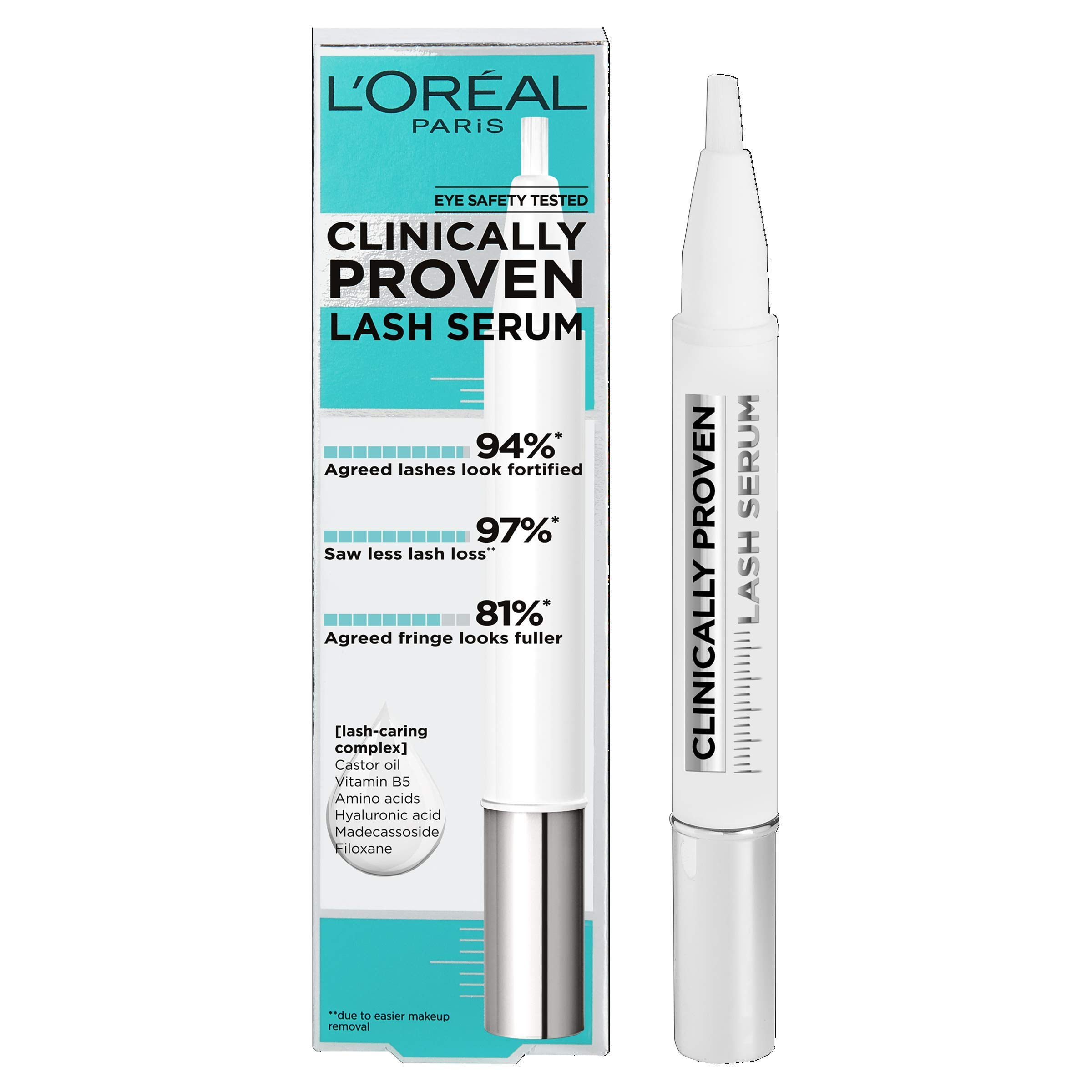 L'Oreal Paris Clinically Proven Lash Serum for Stronger, Thicker-looking lashes, Enriched with Castor Oil and Hyaluronic Acid